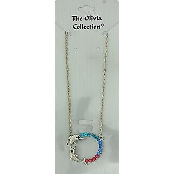 Les Olivia Collection couleur strass Double anneau Dauphin collier 18-20