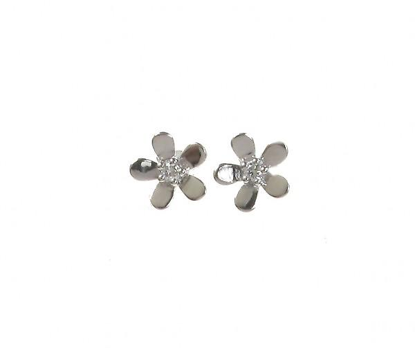 Cavendish French Sterling Silver CZ Centre Tiny Flower Earrings