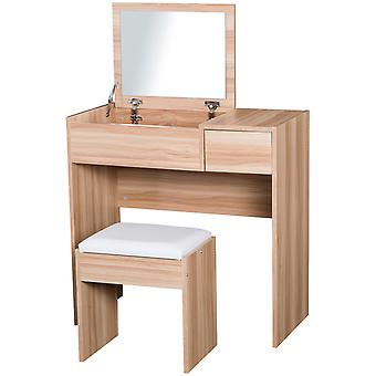 HOMCOM Chipboard Dressing Table Set Cushioned Stool Flip-up Mirror Drawer Wood Grain Colour