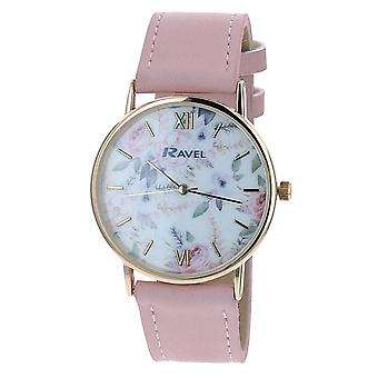 Ravel Ladies - Womens White Dial &  Pink PU Buckle Strap Watch R0134.05.2