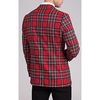 Dobell Mens Red Tartan Tuxedo Giacca Slim Fit Contrasto Lapel