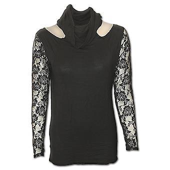 Directa elegancia gótica gótico espiral - encaje manga capucha cuello superior Black| Gótico