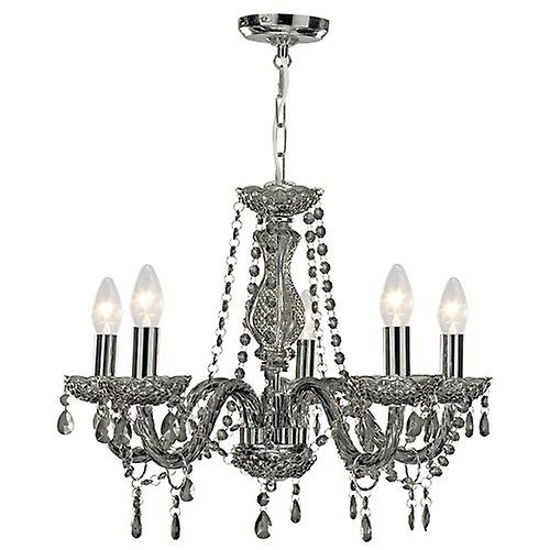 Searchlight 8695-5GY Marie Therese 5 Light Smoked Fitting With Acrylic Drops