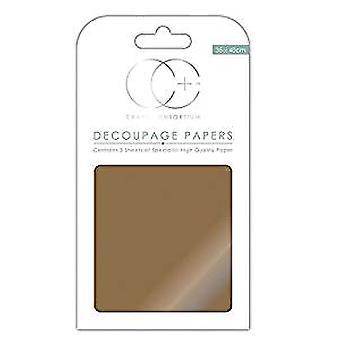 Craft Consortium Metallic Antique Gold Decoupage Papers (CCMDECP004)