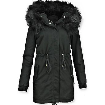 Ladies Winter coats-faux fur coat-fake fur coat-black