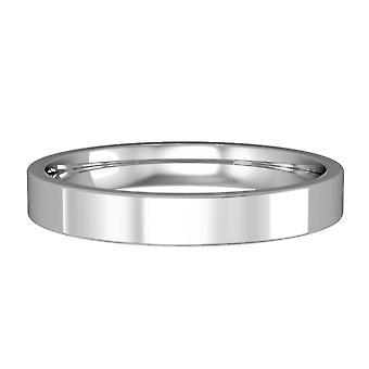Jewelco London Platinum 3mm Flat-Court Polished Wedding Band Commitment Ring
