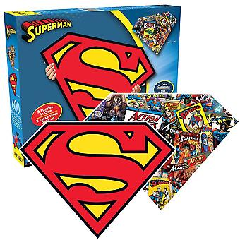 Superman en forme de 600 pièce double face jigsaw puzzle 541 x 406 mm (nm 75017)