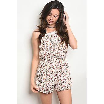 Womens off white floral romper