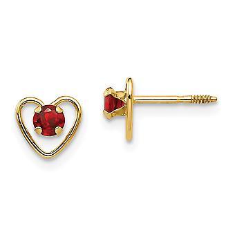 14k Yellow Gold Polished Screw back Post Earrings 3mm Garnet Heart for boys or girls Earrings - Measures 6x6mm