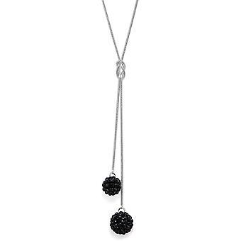 Jet-schwarz Crystal Mesh Ball Anhänger Halskette PMB112.6