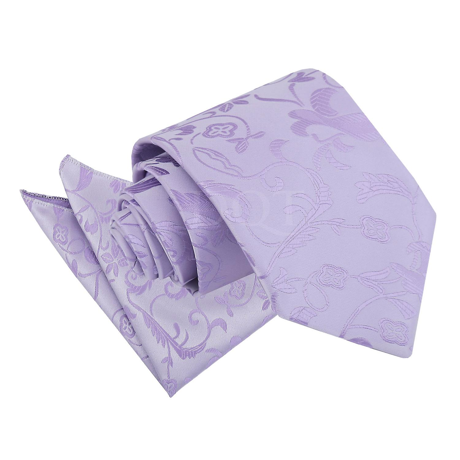 Lilac Passion Floral Patterned Tie and Pocket Square Set