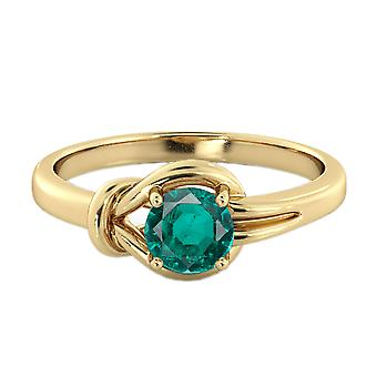 Emerald 0.50 CT Ring 14K Yellow Gold Knot  4 prongs Round