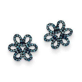 Sterling Silver Blue and White Diamond Flower Post Earrings - .26 dwt