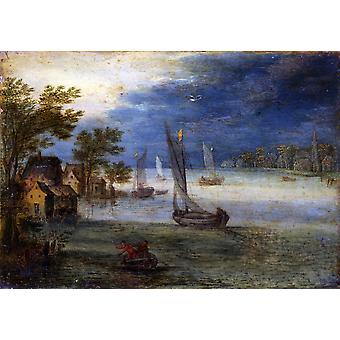 River View With Boats Poster Print