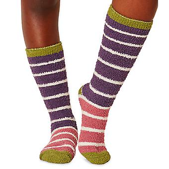 Willoemi women's fluffy socks in violet. Recycled polyester, made by Braintree