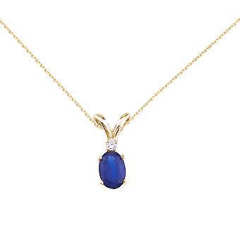 14k Yellow Gold Sapphire and Diamond Oval Pendant with 18