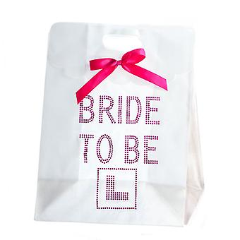 Hen Night Party White Bride to Be L-Plate Pink Diamante Gift Bag