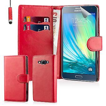 Boka plånbok vanligt fall täcka + penna för Samsung Galaxy A5 SM-A500 (2015) - röd
