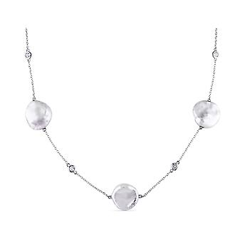 White Freshwater Coin Pearl 16-16.5mm and White Topaz Necklace In Sterling Silver