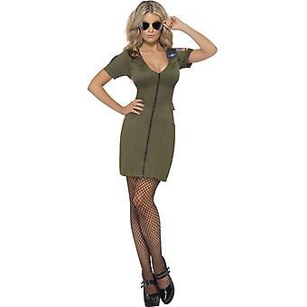 Sexy top gun women's costume green dress