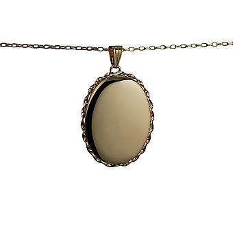 9ct Gold 37x28mm oval plain twisted wire edge Locket with a belcher Chain 16 inches Only Suitable for Children