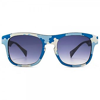 EYEYE By Italia Independent Keyhole Retro Sunglasses In Blue Sky LED
