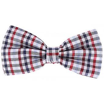 Knightsbridge Neckwear Checked Silk Bow Tie - Grey/Red/Brown
