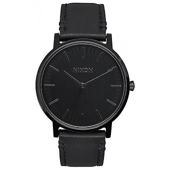 Nixon The Porter Leather Watch - Black