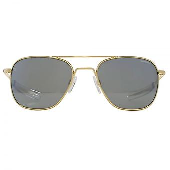Randolph Engineering Square Aviator Sunglasses In 23K Gold Grey Flash Mirror