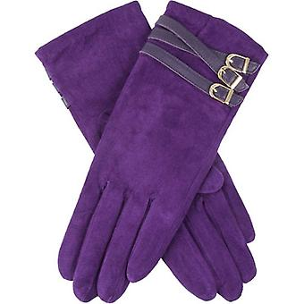 Bucklor Amy Buckle detalj Pigsuede Touch Screen handskar - Amethyst