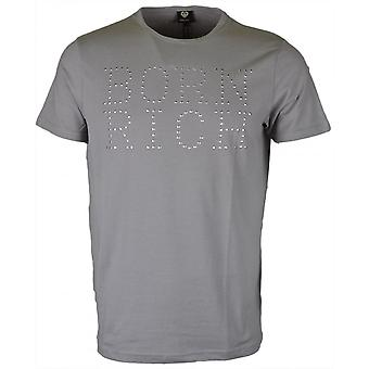 Born Rich Ribery Stretch Cotton Grey T-shirt