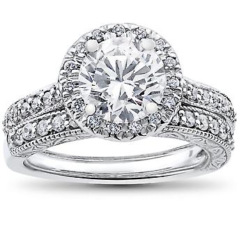2 1/2 ct Halo Diamond Engagement Vintage Matching Wedding Ring White Gold