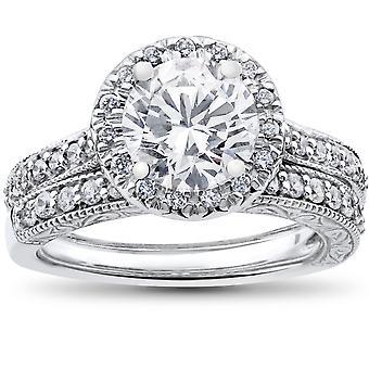 2 1/2 ct Halo Diamond Engagement Vintage Weißgold Ehering passend