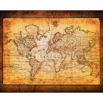 World Map Antique Poster Poster Print