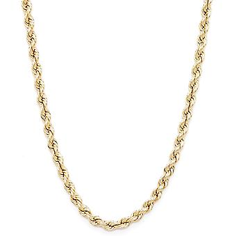 Floreo 10k Yellow Gold Hollow Rope Chain Necklace with Lobster Claw Clasp, 2.5mm