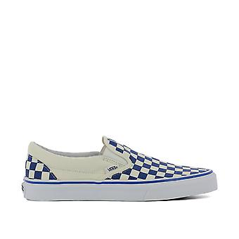 Vans men's VA38F7P0UUA white/blue fabric slip on sneakers