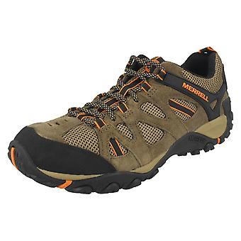 Mens Merrell lopen schoenen Yokota Ascender Vent J343718C - Cantine/B. oranje leder - UK Size 12,5 M - EU grootte 48 - US maat 13