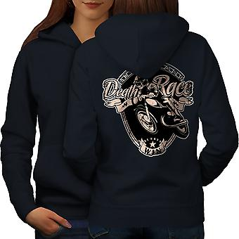 Racing Motorbike Women NavyHoodie Back | Wellcoda
