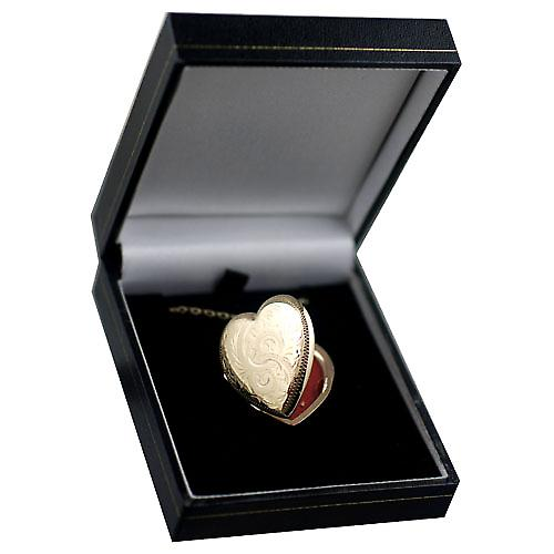 9ct Gold 30x28mm hand engraved heart Locket with a belcher chain