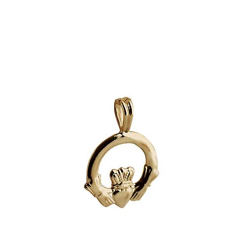 9ct Gold 20x15mm plain Claddagh Pendant