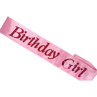 Flashing Birthday Girl Pink Sash Night Out Accessory