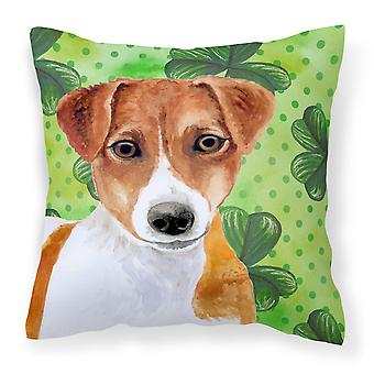 Jack Russell Terrier St Patrick's Fabric Decorative Pillow