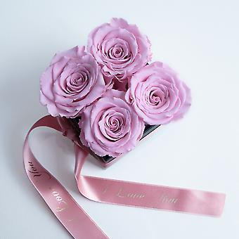 I LOVE pink and satin ribbon roses preserved YOU box with 4 shelf life 3 years