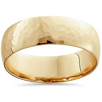 7mm 14K Yellow Gold High Polished Hammered Mens Wedding Band