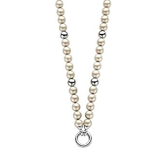 Orphelia Pearl Necklace Platinum  with Silver Balls  ZK-2752
