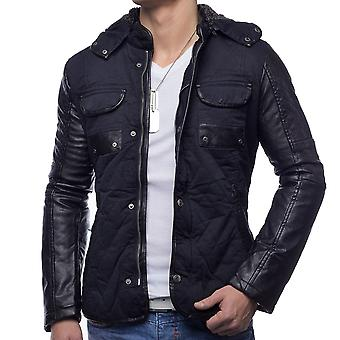 Men's Winter Jacket Blackmount jacket leather sleeves quilted warm lining hood