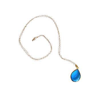 Chaîne de pierres bleu plaqué or collier Blautopaz topaze topaze bleue