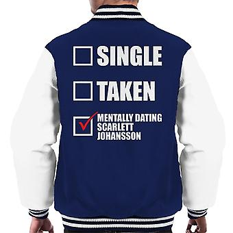 Mentally Dating Scarlett Johansson Men's Varsity Jacket