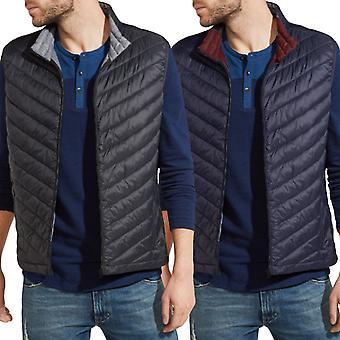 Wrangler Mens Sleeveless Zipped Lined Puffer Gilet Jacket Vest - Navy / Black