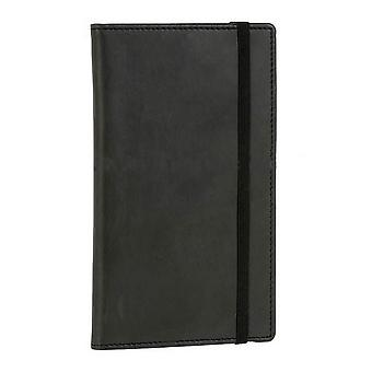 David Van Hagen Leather Pocket Jotter Notepad - Black
